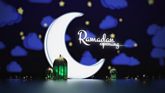 Thumbnail for Ramadan Kareem Lampe à ouverture/Logo Arabe Reveal/ Musulmans Intro/ Nuage et étoiles/Nuage
