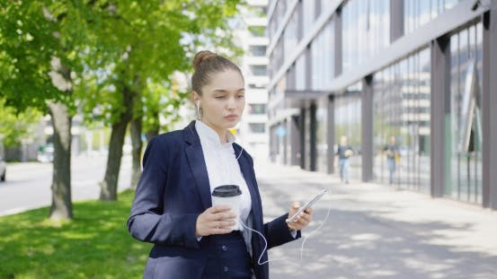 Thumbnail for Pretty Formal Woman with Coffee and Smartphone