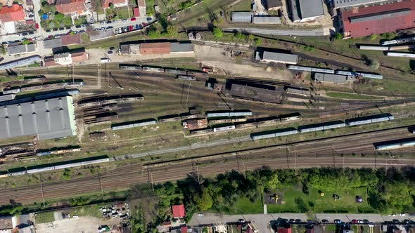 Thumbnail for Flying Over an Old Locomotive Train Depot