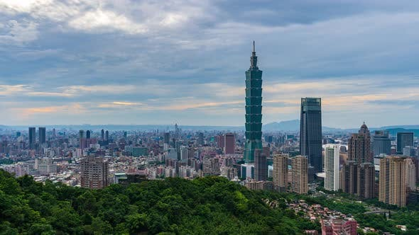 time lapse of city view in Taipei, Taiwan