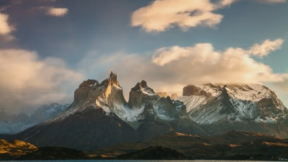 The Movement of Clouds Over the Towers of Cuernos. Parque Torres Del Paine, Patagonia