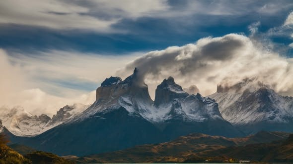 Thumbnail for The Movement of Clouds Over the Towers of Cuernos. Parque Torres Del Paine, Patagonia