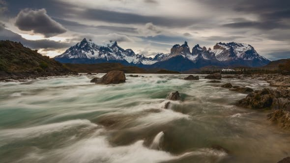 Sunset Over the Mountain River and Mountain Scenery. Parque Torres Del Paine, Patagonia, Chile