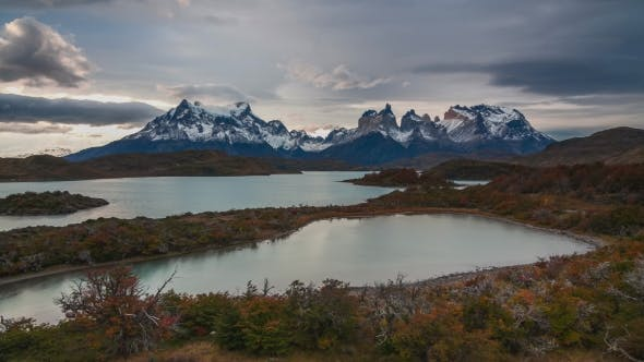 Sunset Over the Lake Pehoe. Parque Torres Del Paine, Patagonia, Chile