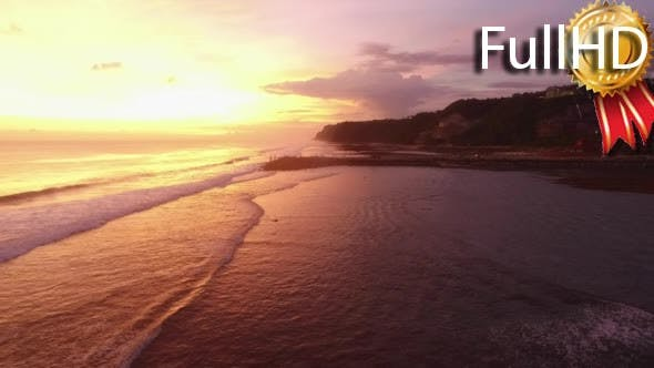Thumbnail for Flight Over the Ocean at Sunset