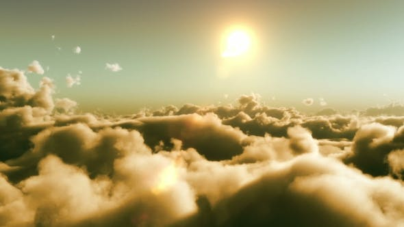 Thumbnail for Flight Over Clouds, Sunset Time