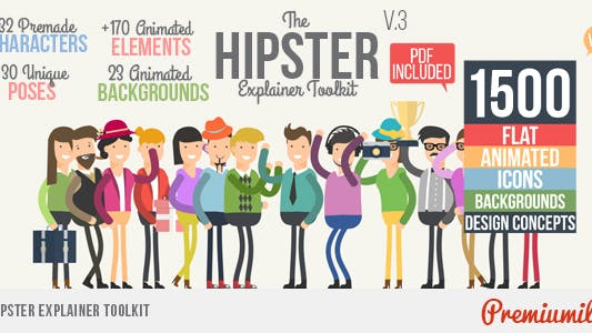 Thumbnail for Hipster Explainer Toolkit & Flat Animated Icons Library