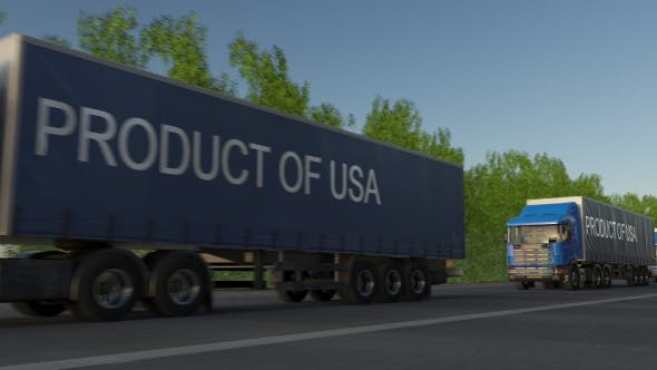 Thumbnail for Moving Freight Semi Trucks with PRODUCT OF USA Caption on the Trailer