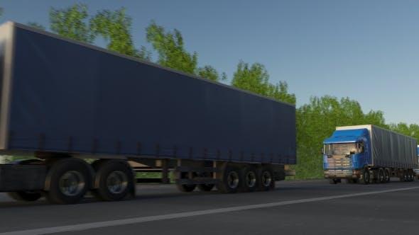 Freight Semi Trucks Convoy