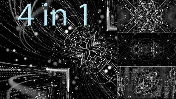 Thumbnail for White Neon Pattern of Lines and Particles 4 in 1