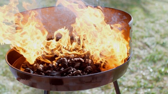 Thumbnail for Flaming Charcoal Briquettes in a BBQ