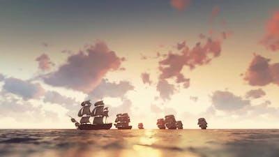 Historical ships sailing at sunset.