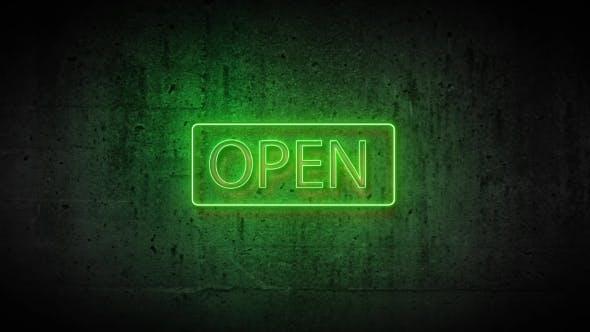 Зеленый неоновый знак открыт