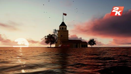 Sea Sunset Girl Tower