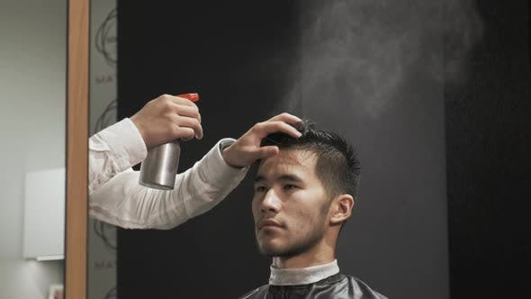 Thumbnail for Asian Male Is Getting a Modern Haircut in Barber Shop