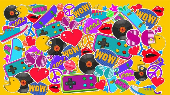 Thumbnail for 80s Retro Colorful Background
