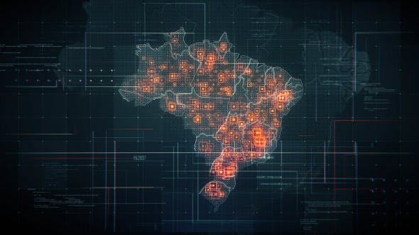 Thumbnail for Black Brazil Map with Lines Rollback Camera 4K