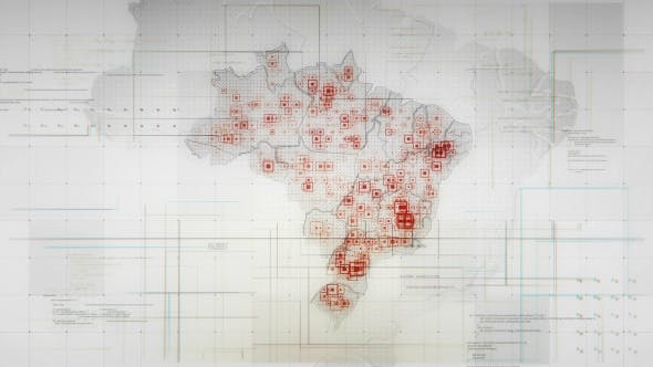 Thumbnail for White Brazil Map with Lines Rollback Camera 4K