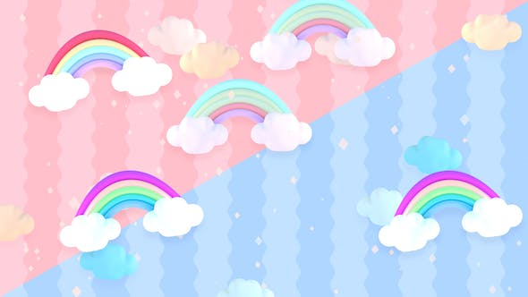 Thumbnail for Cartoon Pastel Clouds and Rainbow
