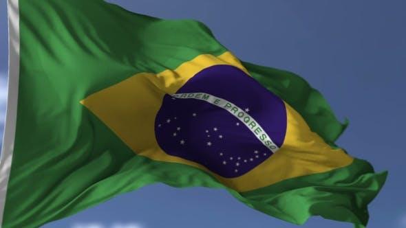 Thumbnail for Brazilian Flag Against Blue Sky