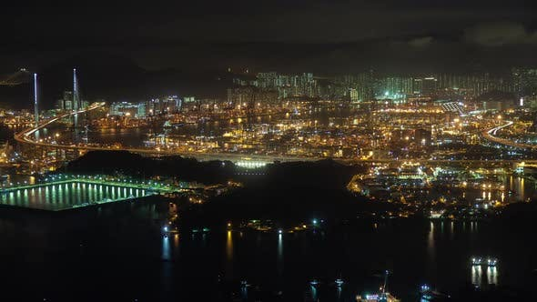 Thumbnail for Container Port Modern Hong Kong City with Bright Illumination