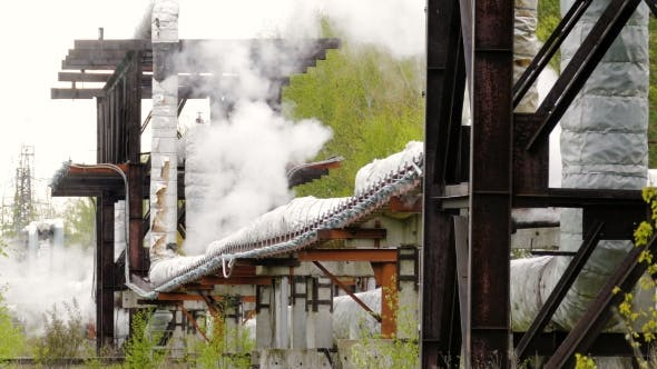 Thumbnail for Industrial Pipelines on Pipe-bridge From Which Emanate Jets of Steam