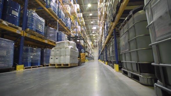 Worker Transporting Cargo on Forklift