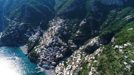 Beautiful Flight Over Positano at Amalfi Coast in Italy