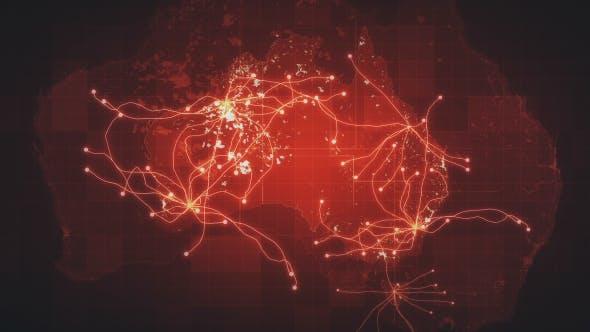 Thumbnail for Red Australia Map Network Rollback 4K