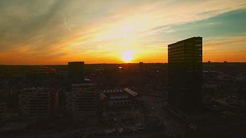 Aarhus Skyline Panorama At Sunset