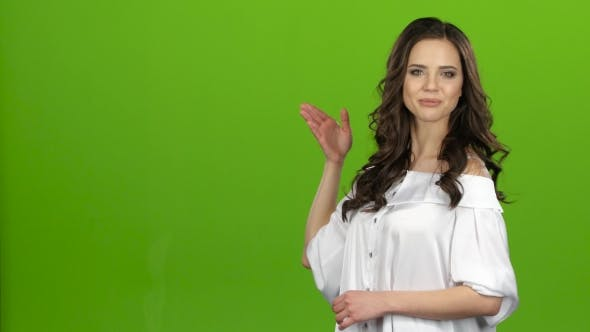 Thumbnail for TV Presenter Tells Everyone About the Weather, She Is Smart and Beautiful. Green Screen