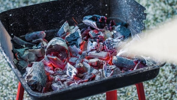 Thumbnail for Coals Burning in the Brazier for Barbecue. Blowing Glow. Preparation for Cooking Meat