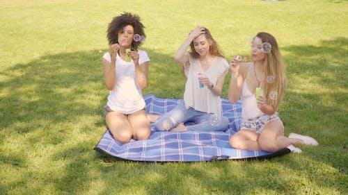 Friends Blowing Bubbles in Park