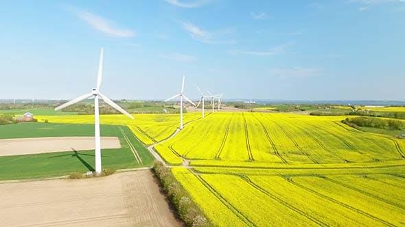 Wind Turbines At A Windmill Farm