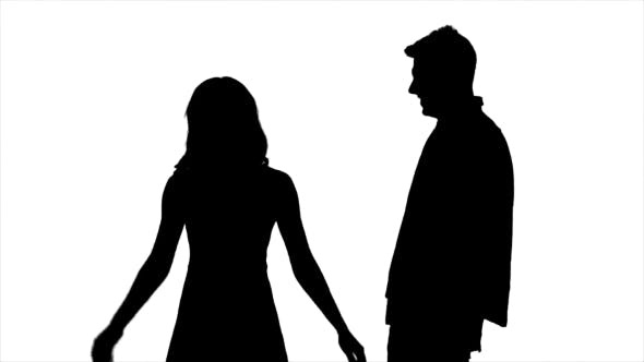 Thumbnail for Couple in Love, They Laugh, Kiss and Have Fun. Silhouette. White Background