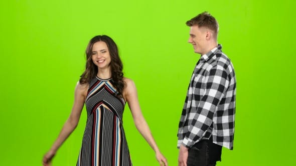 Thumbnail for Couple in Love, They Laugh, Kiss and Have Fun. Green Screen