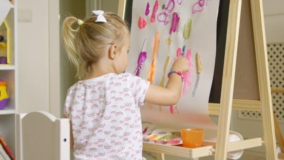 Thumbnail for Cute Creative Little Girl Artist Painting