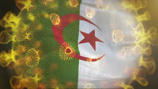 Algeria Flag With Coronavirus Microbe Centered