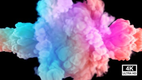 Collision Of Two Streams Of Festival Colored Smoke And Dissipate 4K