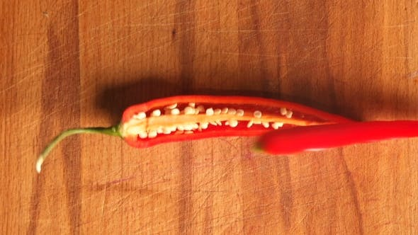 Thumbnail for Chopped Red Bell Pepper on Cutting Board. Healthy Fresh Red Capsicum Pepper Food