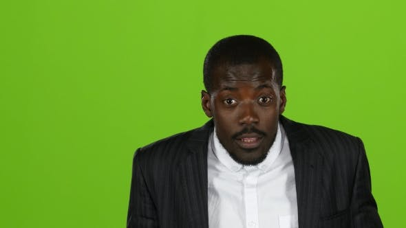 Thumbnail for African American Is Indignant, He Is Angry and Aggressive. Green Screen