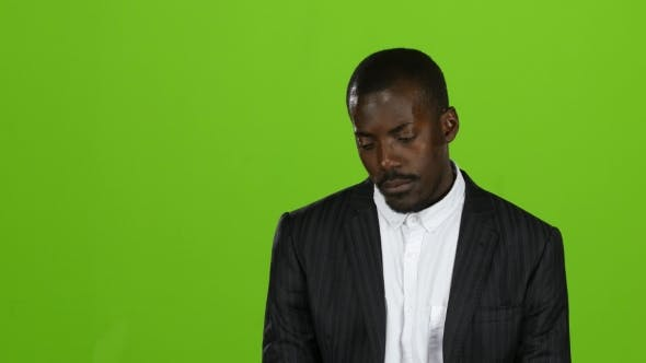 Thumbnail for American Businessman in a Severe Depression, He Is Bankrupt. Green Screen