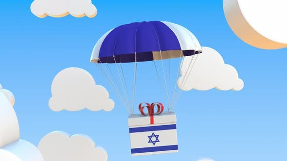 Carton with Flag of Israel Falls with a Parachute