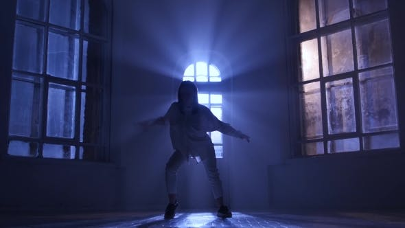 Thumbnail for Incredibly Hip-hop Performed By Professional Dancer Girl. Silhouette in Moonlight