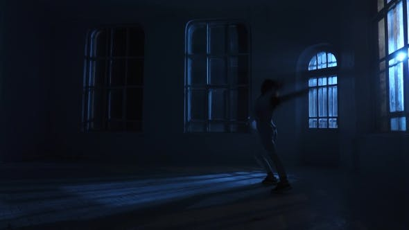 Thumbnail for Teenager Dancer Girl in Shirt Dancing Contemporary in Moonlight. Silhouette