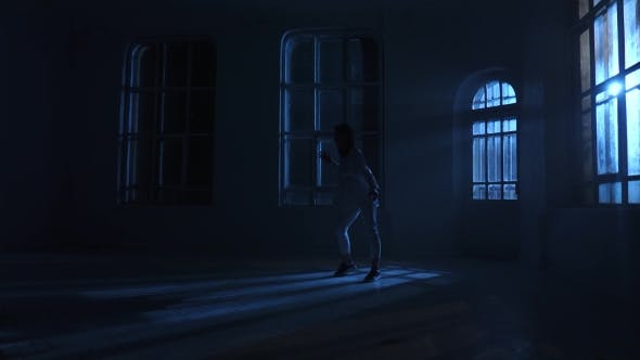 Thumbnail for Modern Dancer Girl in Shirt Dancing Contemporary in Moonlight. Silhouette
