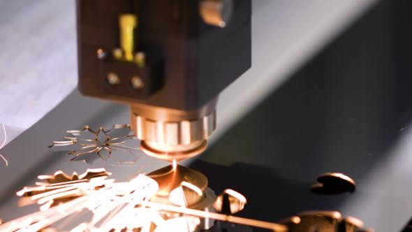 Cover Image for CNC Laser Cutting of Metal, Modern Industrial Technology.