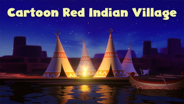 Thumbnail for Cartoon Red Indian Village Loop
