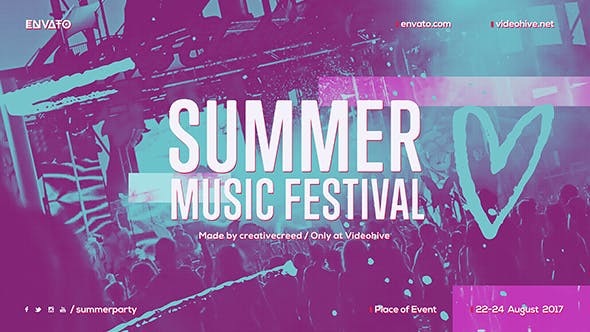 Thumbnail for Summer Music Festival / Dance Event Promo / EDM Party Invitation / Night Club