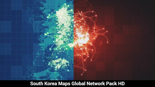 Thumbnail for Pack of 3 South Korea Maps Network HD